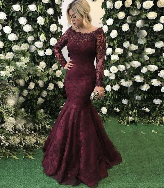 Long Prom Dresses Mermaid Evening Dresses Long Sleeve Formal Dresses