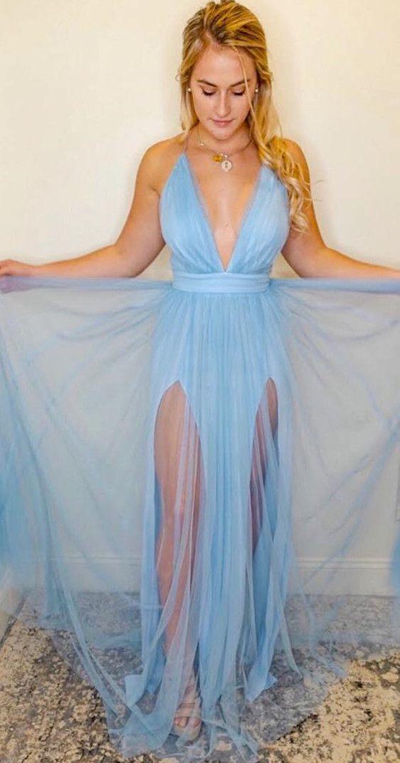 Sexy Deep V Neck Long Light Blue  Prom Dress Party Dress with Side Slit