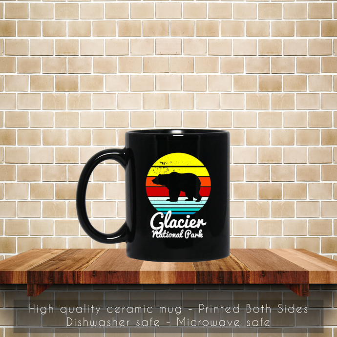 Vintage Retro Glacier National Park, Montana Bear Coffee Mug, Tea Mug, Glacier