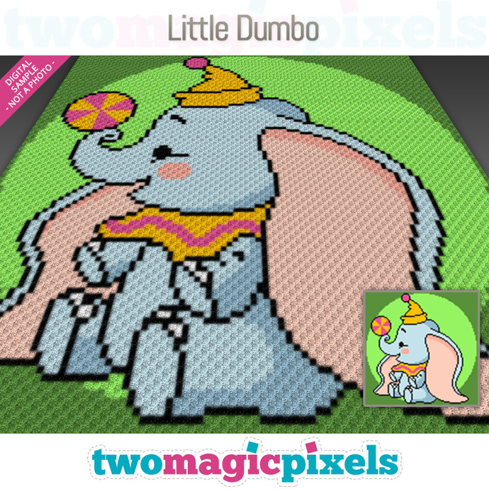 Little Dumbo crochet graph (C2C, Mini C2C, SC, HDC, DC, TSS), cross stitch;