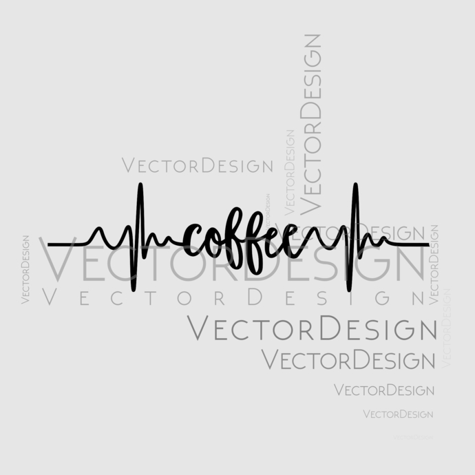 Coffee pulse Graphics SVG Dxf EPS Png Cdr Ai Pdf Vector Art Clipart instant