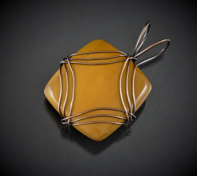 Butterscotch Mookatie Pendant,  Wire Wrapped Pendant,  Diamond Design Series