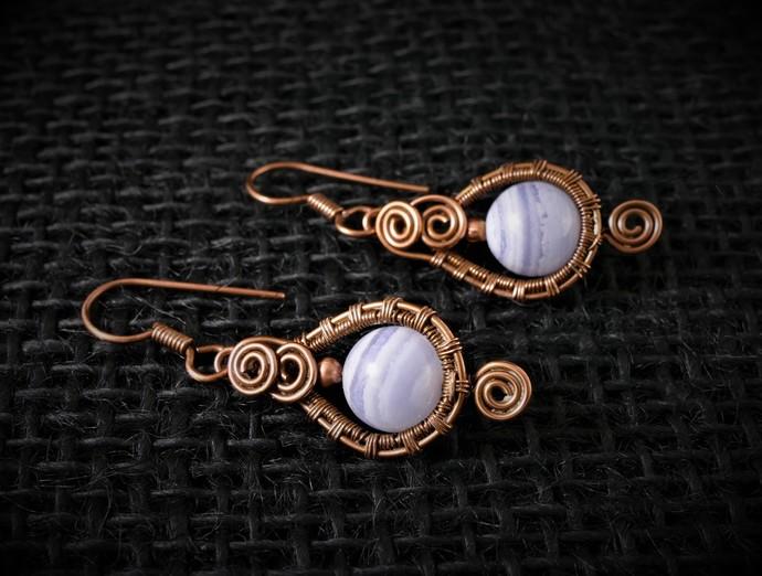 Blue Lace Agate Dangle Copper Earrings; 3 Spiral Woven Wire Wrapped Earrings