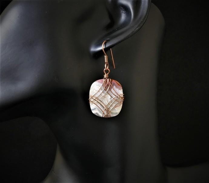 Crazy Lace Agate Dangle Earrings; Diamond Design Series (E109)