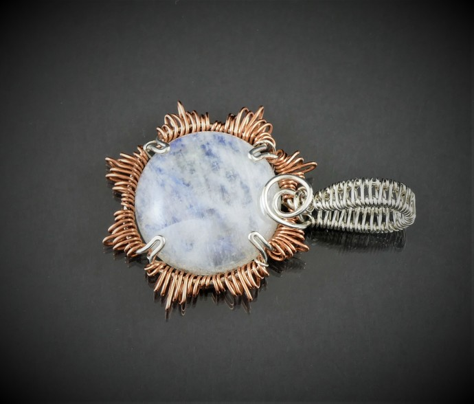 Rainbow Moonstone Sterling Silver and Copper Pendant (P130)