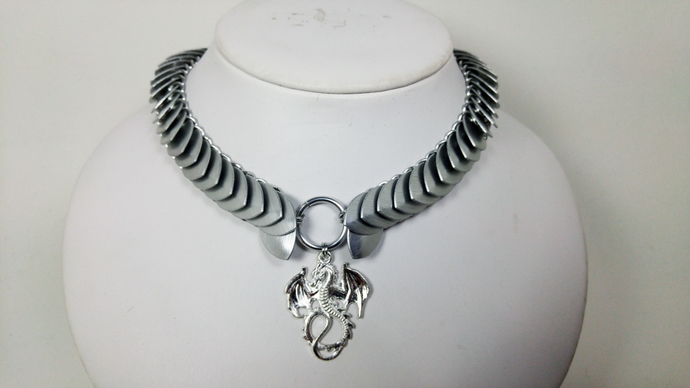 Dragon scale necklace, unisex, mens jewelry, chainmaille