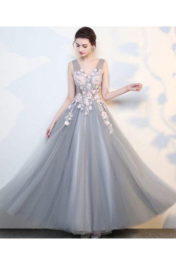 Grey prom dresses, prom dresses long, prom dresses lace