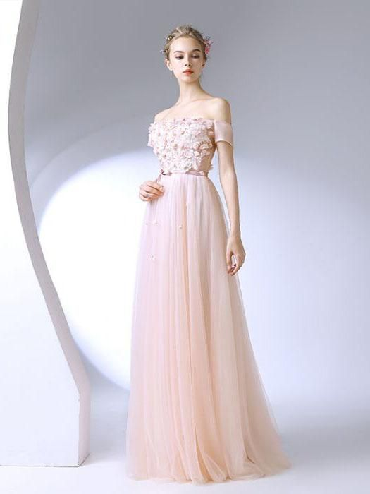 Chic A-line Off-the-shoulder Pearl Pink Applique Modest Long Prom Dress Evening