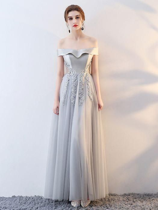 Chic Long Prom Dress A-line Off-the-shoulder Tulle Silver Prom Dress Evening