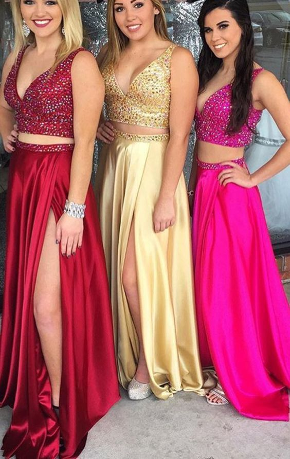 Two Piece Deep V Neck Crystals Long Prom Dress Sexy Formal Gown