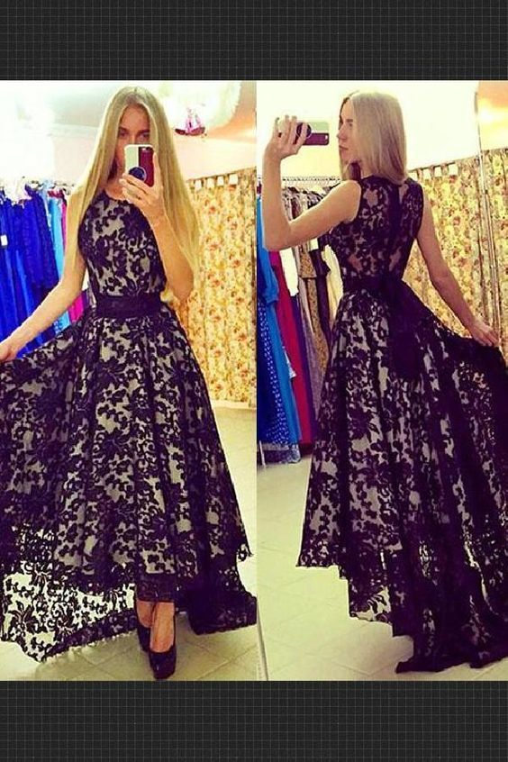 Evening Dress For Teens, Evening Dress High Low, Black Evening Dress, Black Lace