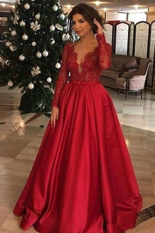 Red V Neck Long Sleeves Lace Appliques Prom Dresses Formal Evening Fancy Dress