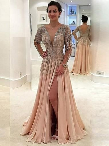 Long Sleeve Prom Dresses A-line Scoop Beading Sparkly Long Prom Dress/Evening