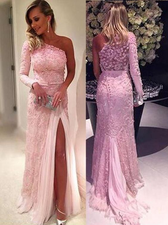 prom dresses,Sexy Prom Dress,Stylish One Shoulder Long Sleeve Sweep Train Pink