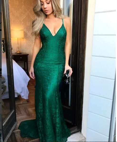 Mermaid Emerald Green Prom Dress, Spaghetti Straps Lace Prom Dresses, Backless