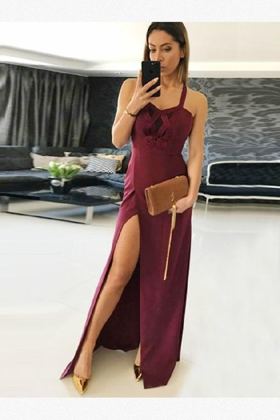 Prom Dress Lace, Cute Prom Dress, Burgundy Prom Dress