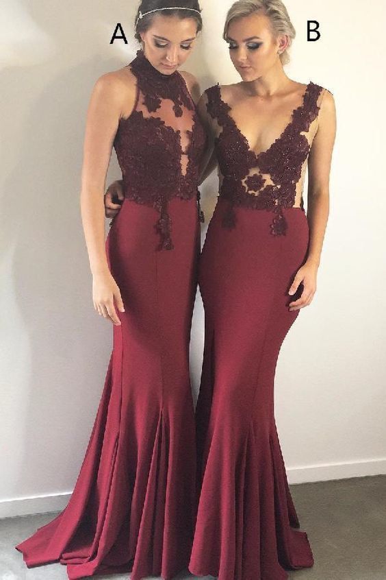 Cheap Substantial Prom Dress Lace, Prom Dress 2019, Red Mermaid Bridesmaid