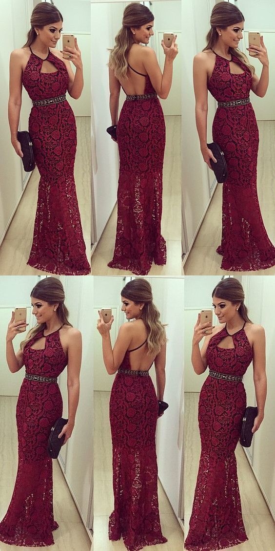 Burgundy Lace Prom Dress, Backless Long Party Dress, Round Shoulder Evening