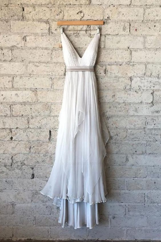 Chiffon Prom Dresses, Simple V Neck White Chiffon Long Prom Dress, White Evening