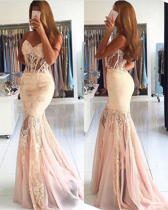 Elegant Lace Appliques Sweetheart See Through Corset Tulle Mermaid Prom Dresses
