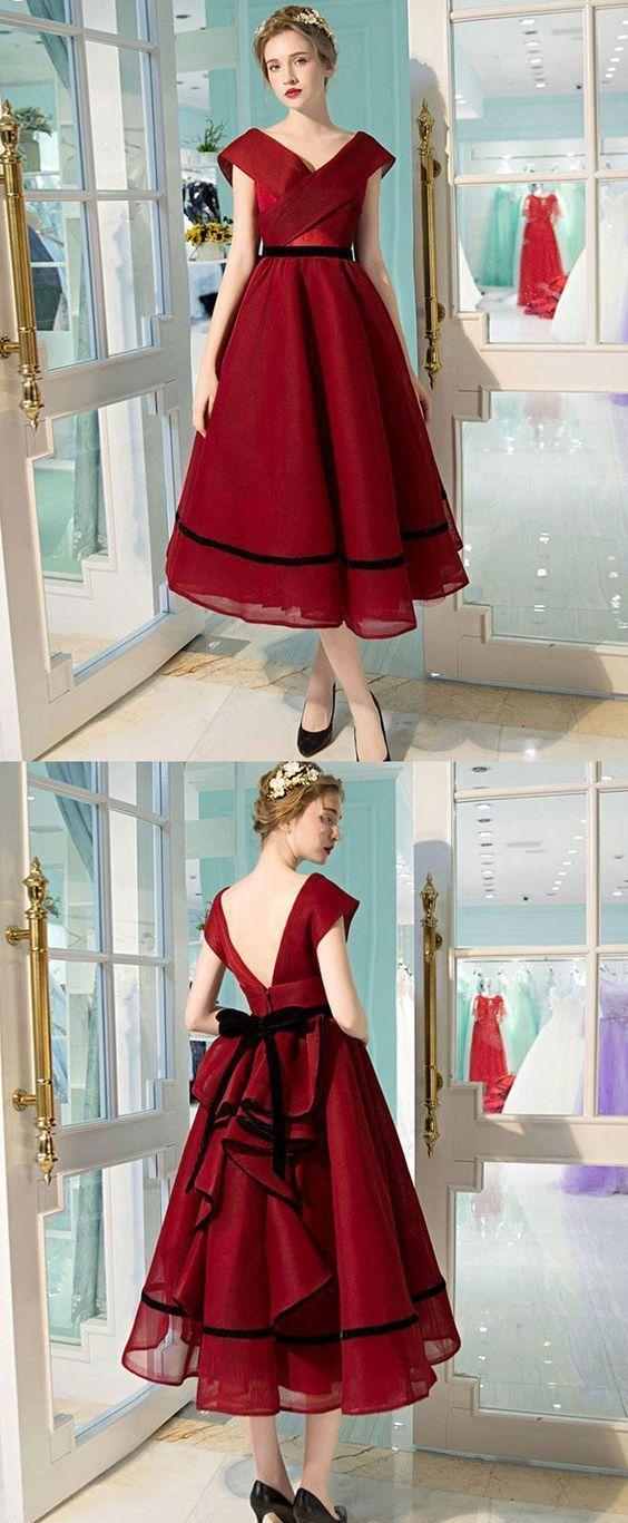 Simple burgundy v neck tea length prom dress, burgundy evening dress