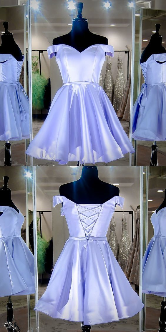 Off Shoulder Short Lavender Homecoming Dress