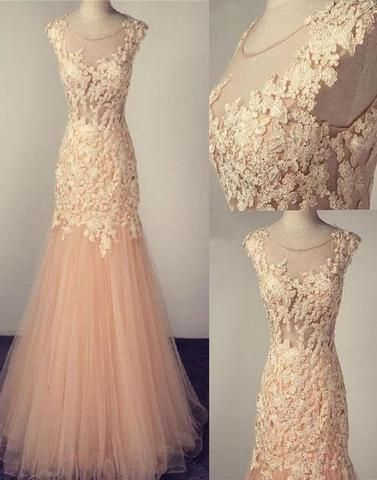blush pink tulle mermaid scoop long lace appliques prom dress