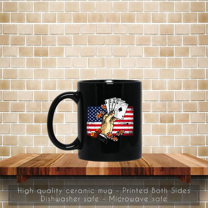 Vintage Poker USA Coffee Mug, Tea Mug, Coffee Mug, Poker USA, Retro Poker Mug,