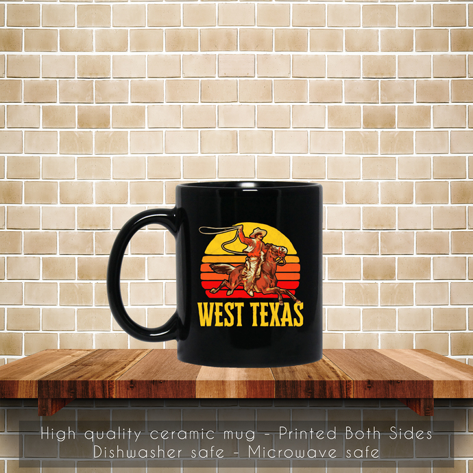 West Texas, Retro Roping Cowboy, Vintage Graphic Coffee Mug, Tea Mug, Coffee