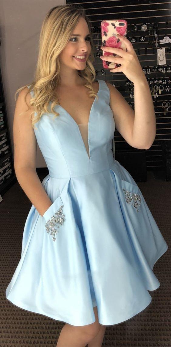 Princess Light Sky Blue Short Hoco Dress with Pockets