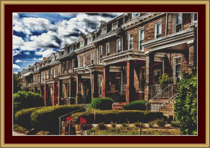 Houses In A Row Cross Stitch Pattern - Instant Digital Downloadable Pattern