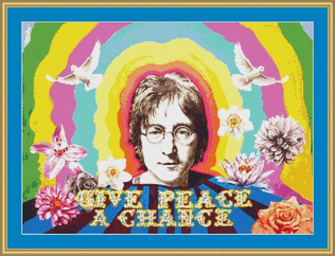 John Lennon Cross Stitch Pattern - Instant Digital Downloadable Pattern