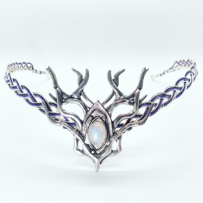 Moonstone Woodland Stag Circlet Crown - Thranduil Elven Wedding Headpiece - LOTR