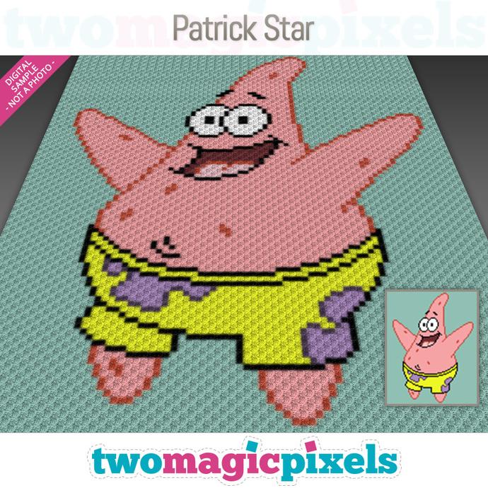 Patrick Star crochet graph (C2C, Mini C2C, SC, HDC, DC, TSS), cross stitch;