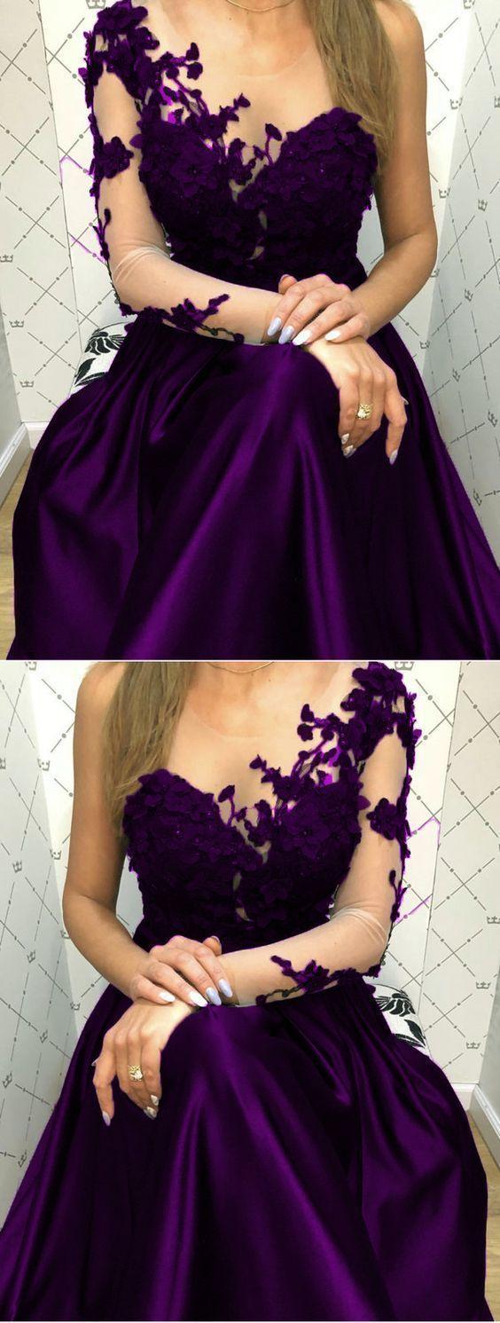 elegant Purple Lace Long Sleeves Satin Prom Evening Dresses One Shoulder N0983
