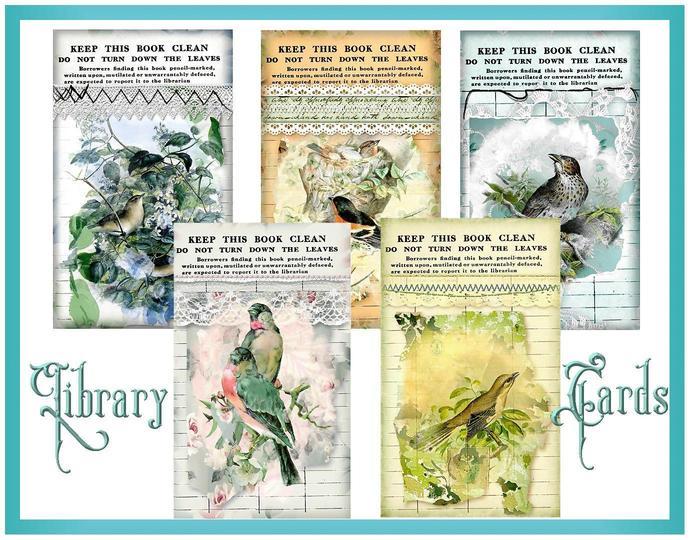 Vintage Birds Library Card Collage Tags - Digital Printable Ephemera - INSTANT