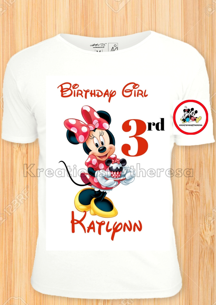 Minnie Mouse Cupcake Birthday Girl Iron On Transfer