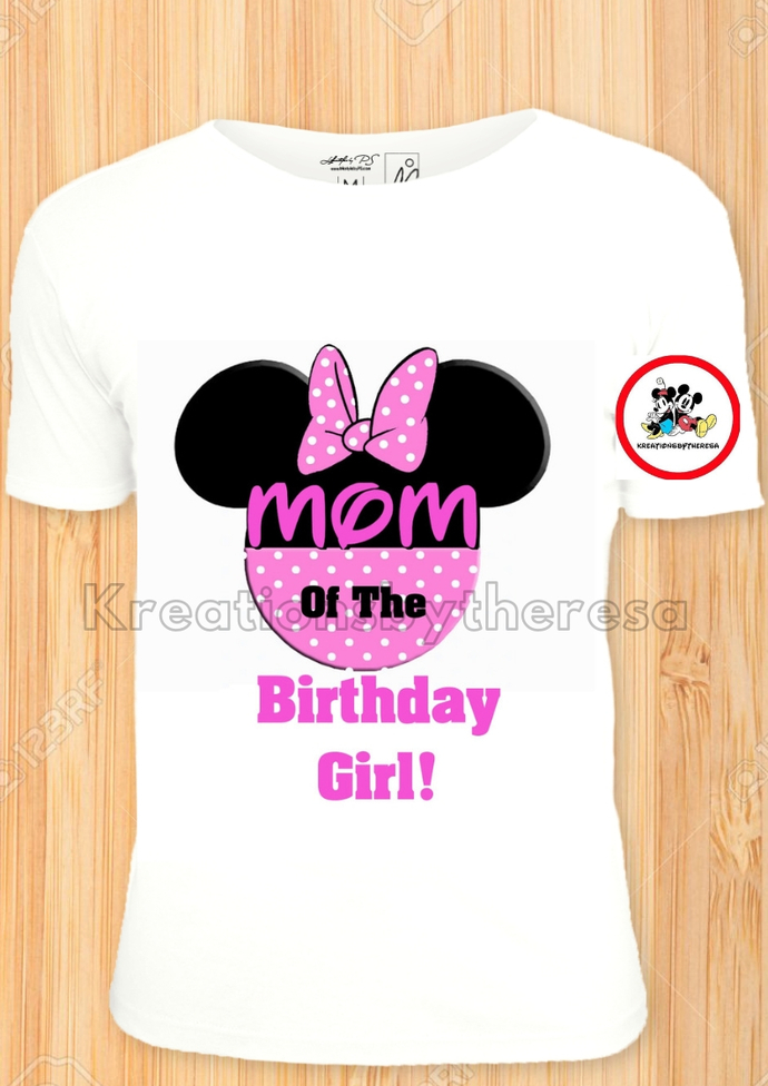 Minnie Mouse Head Family Of The Birthday Girl Pink Polka Dots