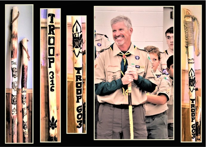 retirement gift, troop leader gift, scout master gift, hiking stick, walking