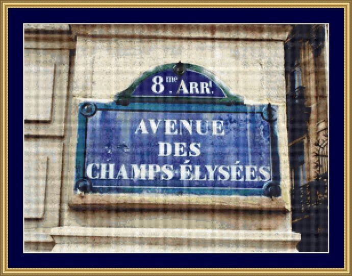 Champs Elysees Cross Stitch Pattern - Instant Digital Downloadable Pattern