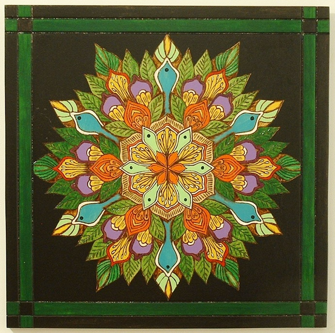 Mandala Art, Kaleidoscope Designs, Framed Wood Wall Art Pyrography