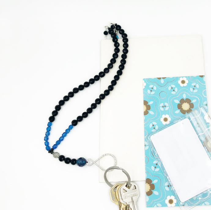 Lanyard Necklace in Blue Palette 42""