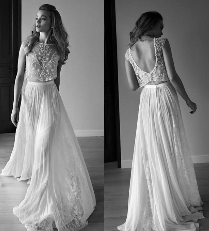 Two Piece Sweetheart Sleeveless Low Back Pearls Beading Sequins Lace Chiffon