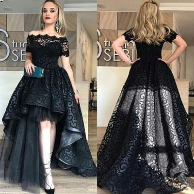 Hi-Lo Short Sleeve Black Off-the-shoulder Lace Prom Dresses
