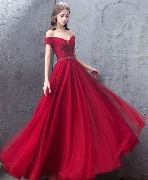 Burgundy sweetheart off shoulder long prom dress, burgundy evening dress