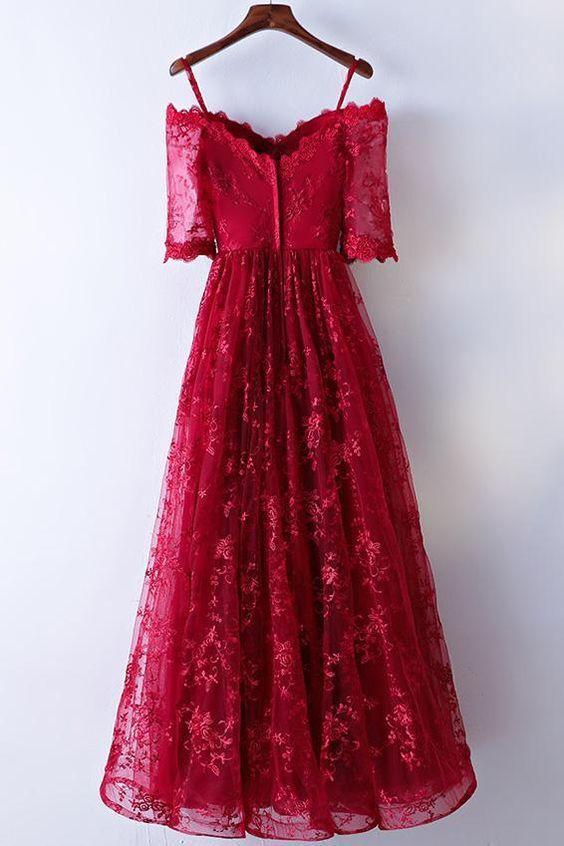 Pretty burgundy lace long prom dress, burgundy lace evening dress