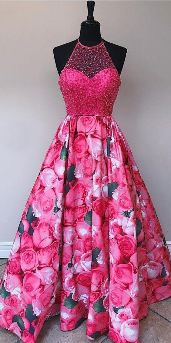 Popular Flowers Halter Beaded Off the Shoulder Long Prom Dresses