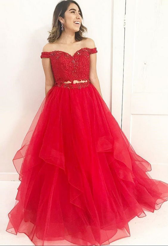 Red Two-Piece Lace Beaded Prom Dress,Applique Two Piece Formal Dresses