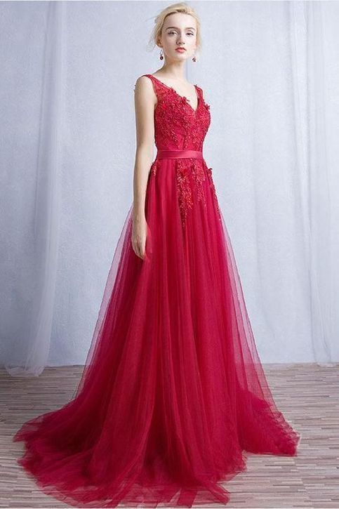 spaghetti prom dress V Neck Prom Dresses, Burgundy Bridesmaid Dresses, Lace
