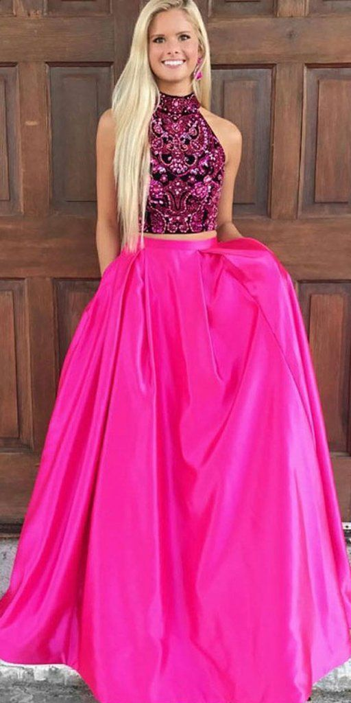 Two Pieces Beaded Top A-Line Satin Open-Back Prom Dress with Pocket